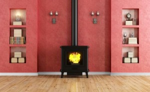 Classic red room with fireplace with cast iron fireplace and niche - rendering