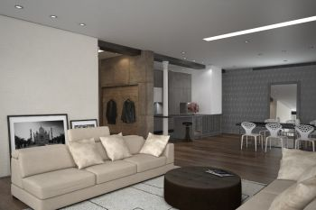 Modern open-plan living room interior with comfortable sofas and a stylish dining suite with neutral grey, beige and white decor